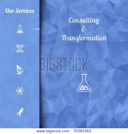 Print or website landing page template. Abstract blue vector mosaic pattern and sidebar with icons. Vector illustration