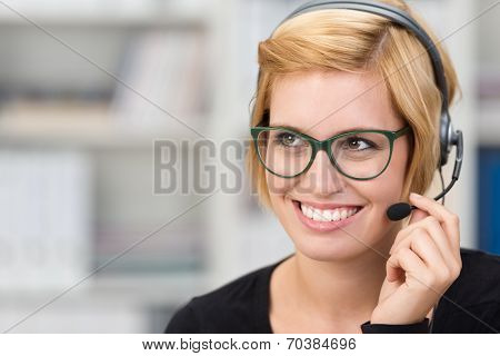Attractive Woman Call Centre Operator