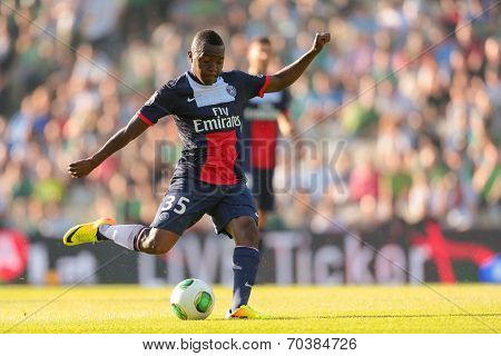 VIENNA, AUSTRIA - JULY 12 Hervin Ongenda (#35 Paris) kicks the ball at a friendly soccer game on July 12, 2013 in Vienna, Austria.