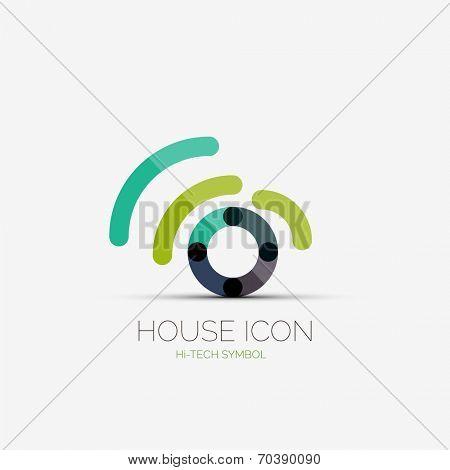 Vector home wifi company logo design, business symbol concept, minimal line style
