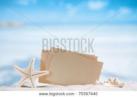 white starfish with blank retro photo on white sand beach, sky and seascape, shallow dof