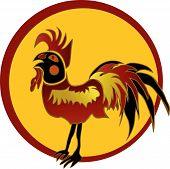 Folk art red rooster in black frame poster