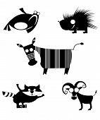 Vector comic animal silhouettes collection for design poster