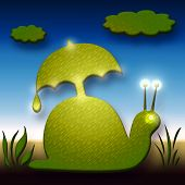 Funny Snail With Umbrella Funny Decorative Illustration poster