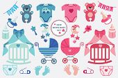 A set of cute cartoon cliparts for newborn baby  boy and girl. Baby cartoon icons, clipart, scrapbooking elements. Vector illustration poster