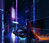 Sci-fi neon warrior on futuristic bike with cyber metal armor standing on a futuristic background. poster