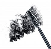 smear of black brush mascara and false eyelashes isolated on white background poster