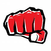 freedom or revolution concept symbol. vector red fist icon. poster