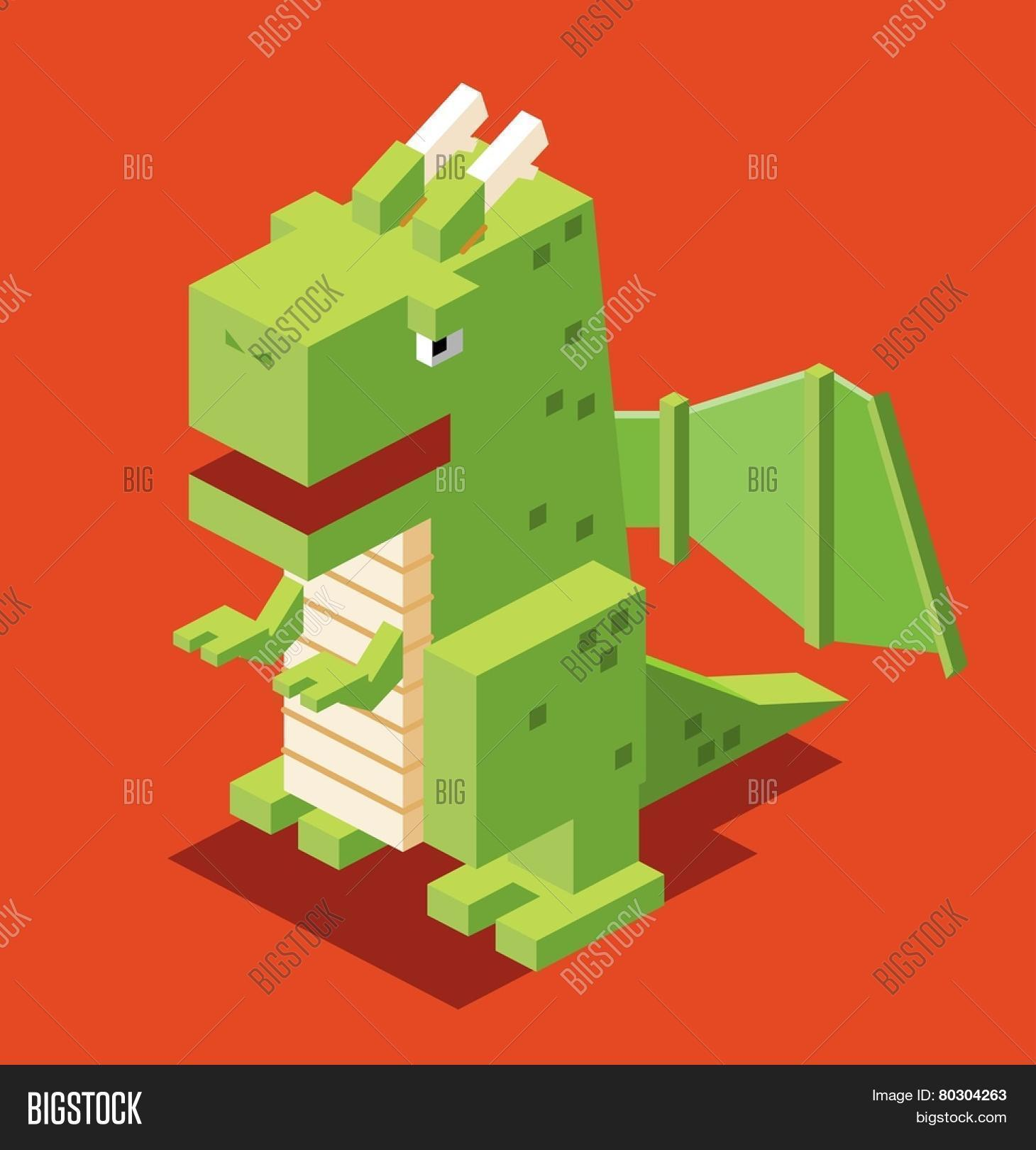 3d Pixelate Dragon. Vector & Photo (Free Trial)