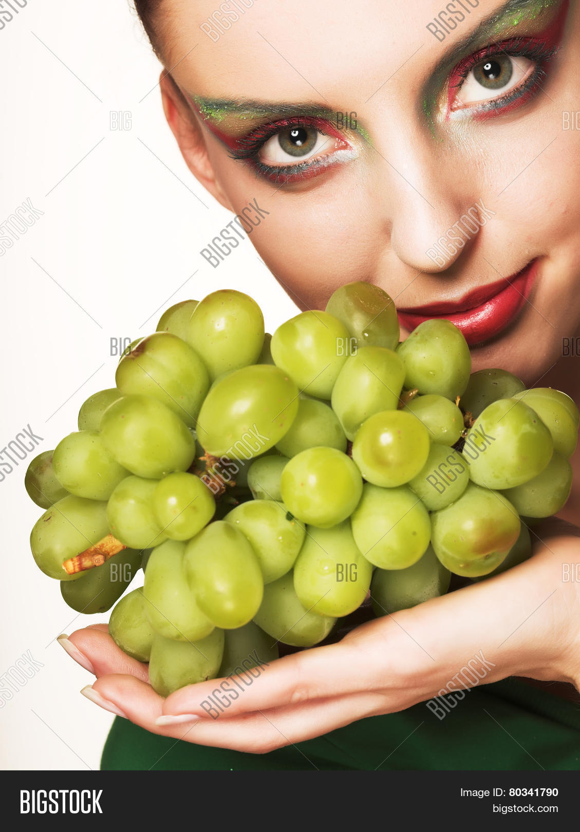 Woman Green Grapes Image Photo Free Trial Bigstock