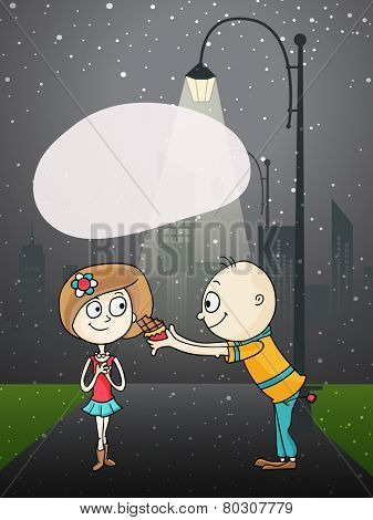 Cute boy cartoon offering chocolate to his beloved on night background on occasion of Happy Valentines Day.