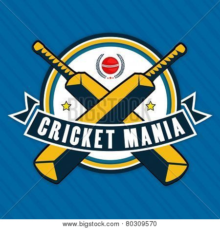 Stylish sticker or label design for Cricket Mania on blue background.