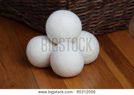 Sheep dryer ball on wooden floor