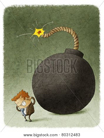 businessman with a bomb behind