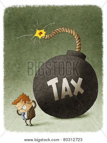 businessman with huge tax bomb