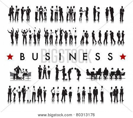 Silhouettes of Successful Business People and the Text Business