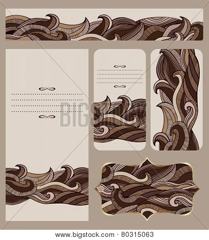 Cards Collection With Abstract Chocolate Waves Pattern