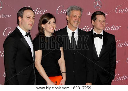PALM SPRINGS, CA - JAN 3: Ido Ostrowsky, Nora Grossman, William Goldenberg & Graham Moore arrive at the Palm Springs International Film Festival Gala on January 3, 2015 in Palm Springs, CA.
