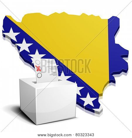detailed illustration of a ballotbox in front of a map of Bosnia Herzegowina, eps10 vector