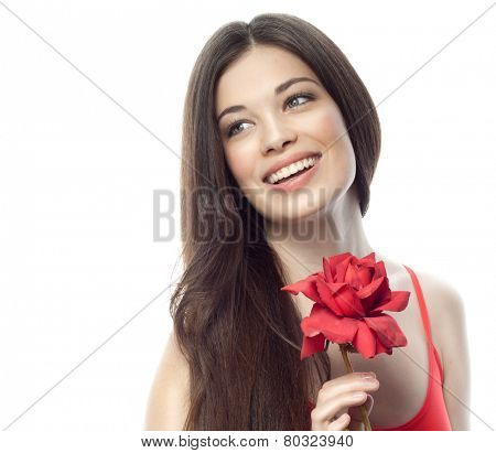 closeup portrait of attractive  caucasian smiling woman brunette isolated on white studio shot lips toothy smile face hair head and shoulders red rose flower