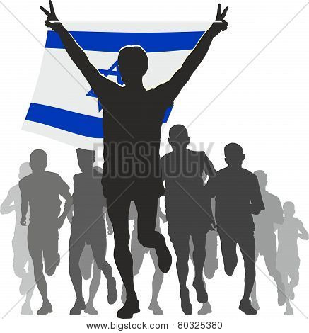 Athlete with the Israel flag at the finish