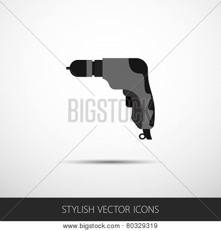 Vector Drill In A Flat Style With Long Shadow
