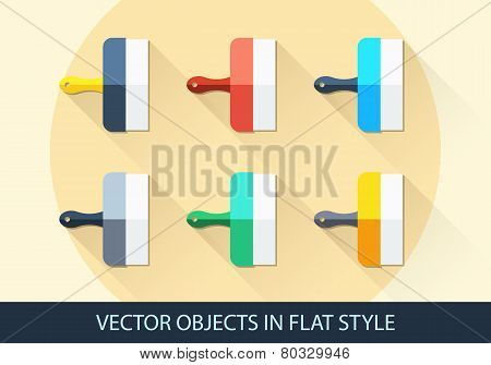 Set Of Vector Spatula In A Flat Style With Shadow.