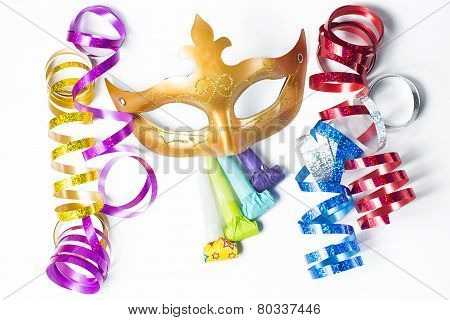 Carnival mask with colorful streamers and party horns on white background poster