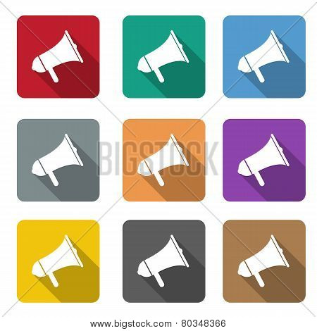 megaphone flat icon set. vector flat color speaker or sound icon poster