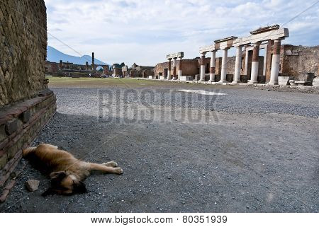 Pompeii is a ruined and partially buried Roman town-city near modern Naples in the Italian region of Campania in the territory of the comune of Pompei.