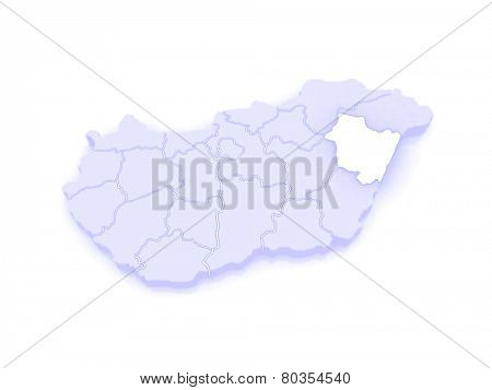 Map of Hajdu-Bihar. Hungary. 3d