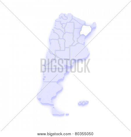 Map of Corrientes. Argentina. 3d