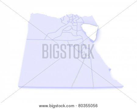 Map of South Sinai (Ganub Sina). Egypt. 3d