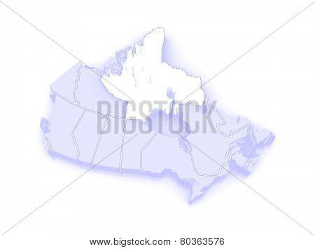 Map of Nunavut. Canada. 3d
