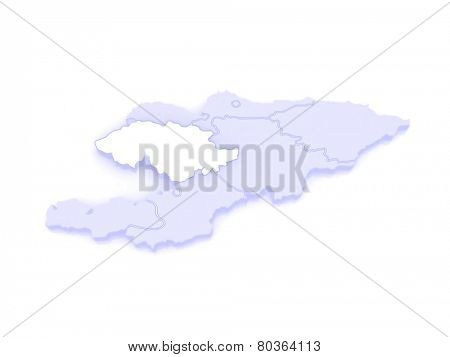 Map of Jalal-Abad Province. Kyrgyzstan. 3d