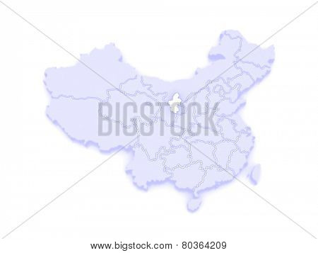 Map of Ningxia Hui Autonomous Region. China. 3d poster