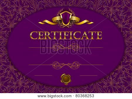 Elegant template of diploma with decoration of lace pattern, ribbon, wax seal, shield, laurel wreath, place for text. Certificate of achievement, education, awards, winner. Vector illustration EPS 10. poster