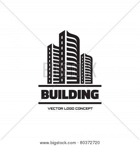 Building - vector logo concept illustration. Real estate logo. Cityscape graphic illustration. Vecto