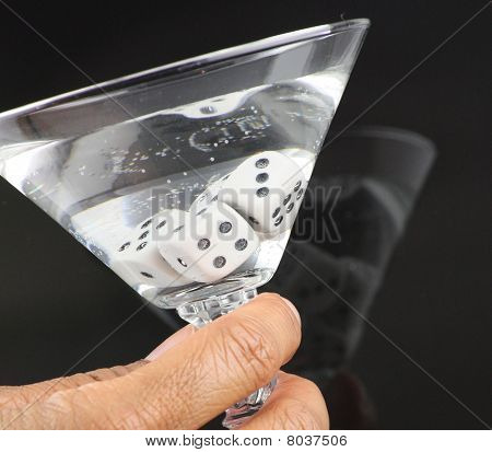 African American sipping Vodka Martini