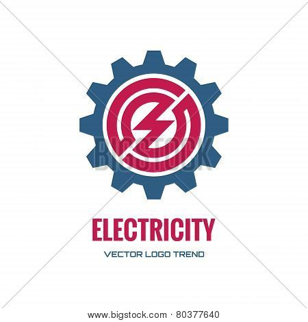 Electricity - vector logo concept illustration. Gear logo. Factory logo. Technology logo. Mechanical