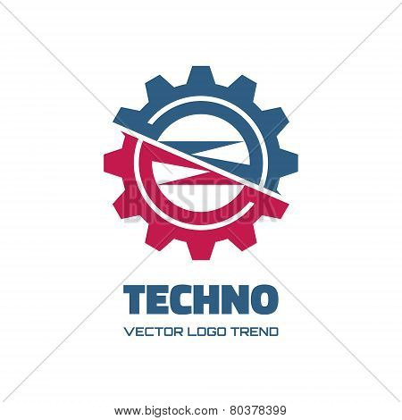 Techno - vector logo concept illustration. Gear logo. Factory logo. Technology logo. Mechanical logo. Vector logo template. Design element. poster