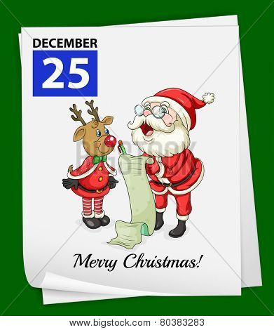 Illustration of a calender and a christmas day