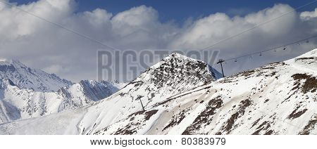 Off-piste Slope And Chair-lift In Little Snow Year. Panoramic View.