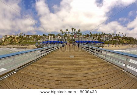 Wide Angle San Clemente Pier With Copy Space