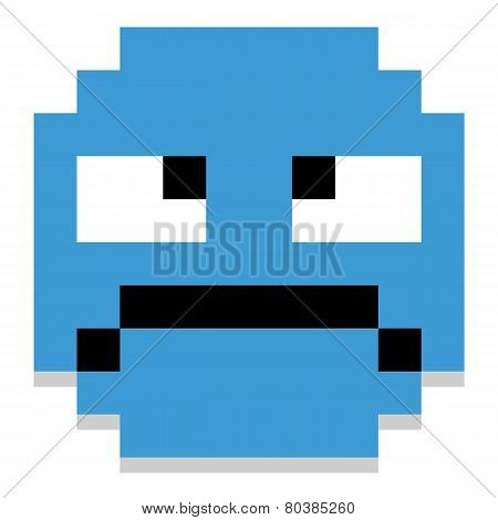 A Vector Cute Cartoon Pixel Grumpy Face