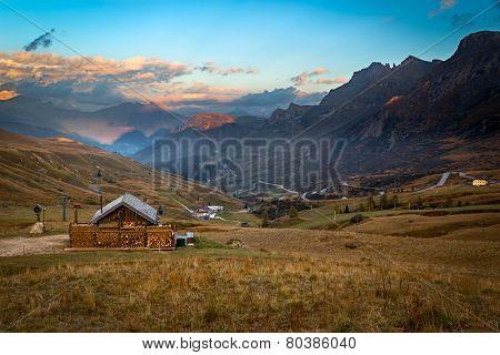 Alpine hut in Alps, Dolomites, Passo Pordoi, Italy