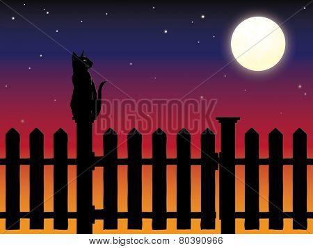 Cat sitting on picket fence post in moonlight vector illustration