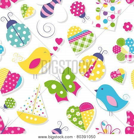 cute hearts flowers toys and animals pattern