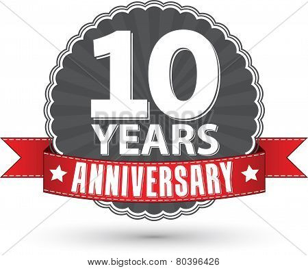 Celebrating 10 Years Anniversary Retro Label With Red Ribbon, Vector Illustration