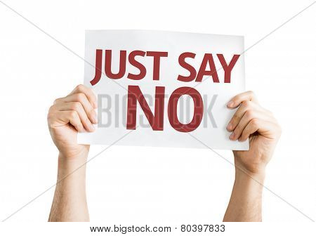 Just Say No card isolated on white background